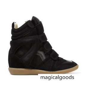 Black Genuine Leather Isabel Bekett Leather-trimmed Suede Wedge Sneakers Women Marant Fashion Show Paris New Shoes