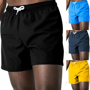 2020 Summer Shorts Men Quick Drying fitness Short homme Casual Beach Shorts Mens Boardshorts Elastic Waist Solid 6 Color M-3XL