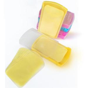 50pcs / lot portátil sabão de papel da pele Lavagem Manual Cuidados Sabão Rosa com folhas Box Fatia de viagem Soap descartáveis Bactericida Sabões