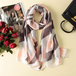 Визуальные оси мода чистый шелковый шарф женский дизайнер полосатый печать натуральные шелковые шали и обертывает шарфы бренда для дам