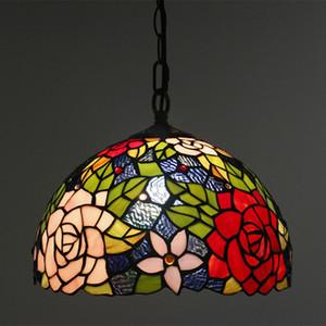 유럽 레트로 티파니 바 펜 던 트 램프 크리 에이 티브 아메리칸 스테인드 글라스 빛 식당에 대 한 홈 장식 꽃 램프
