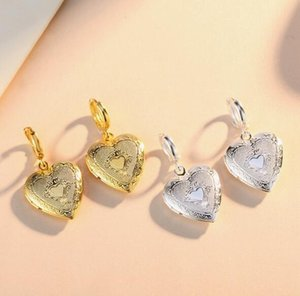 2019 Hot sales Peach heart Phase box Earrings open Can put photo Earrings Golden silvery woman Madam Fashion accessories