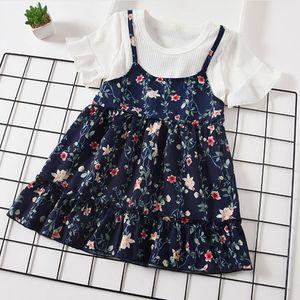 Baby Girl Clothes Children Floral Dresses Fake 2pcs set Chiffon Suspender Princesses Dress Boutique Toddler Dress Summer Baby Clothing 5435