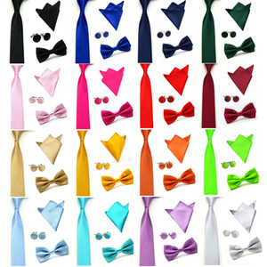 New Mens Wedding Party Plain Satin ●Necktie ●Bow Tie ●Square Hanky Handkerchief