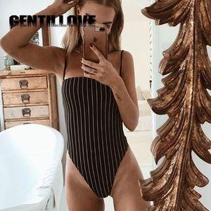 Gentillove Stripe Backless Bodysuit Mulheres Spaghetti Straps Sem Mangas Verão Praia Bodysuits Quentes Clim Cami Bodysuit