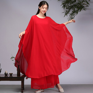 2019 new spring and summer traditional Chinese clothing women plus size dress suit M-2XL