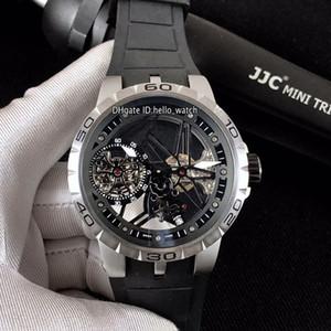 Limited Новый Excalibur 46 Турбийон Стальной Корпус RDDBEX0479 Черный Скелет Автоматические Мужские Часы Черный резиновый ремешок Мужские часы Hello_watch