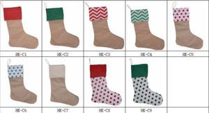 12 * 18inch Leinentaschen Weihnachtsweihnachts dekorative Dekoration Weihnachtsmann Socken Taschen 7styles Festliche Party Supplies Geschenk Weihnachtsstrumpf
