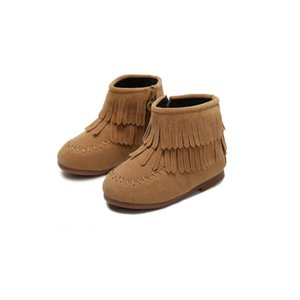 Autumn Winter Girls Ankle Boots Princess Sweet Red Black Brown Flock Fabric Warm Rubber Boots For Toddler Kids Cotton-padded Tassels