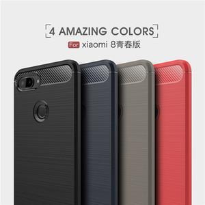 Antichoc TPU Téléphone Case Pour Xiaomi Mi 9 9T MIX3 8 8Pro SE A2 Redmi Note 7 7S 6 Pro 6A 7A Fibre De Carbone Brossé Couverture Arrière Souple