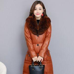 Sahte Kürk Yaka PU Deri Ceket Şık Lüks Artı Boyutu S-4XL Bayanlar Uzun Parkas Coat Slim Fit Sıcak Kış Elbise Womens