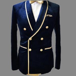 Herren Mantel Blue Velvet Groom Wear Men Hochzeitsanzüge Smoking Jacket Blazer Kostüm Homme Outfit Breite Schal Revers Masculino