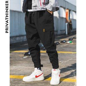 Privathinker Hombres Negro Joggers pantalones de verano 2019 para hombre de grandes bolsillos Ankel Carga Pantalones Hombre Primavera Streetwear Trajes de pantalón T191216