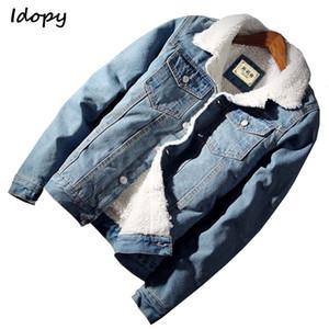 Idopy `s Jacket Denim Casual Com alinhado pele Thicken Quente Velo Jean Jacket Casacos por Homem
