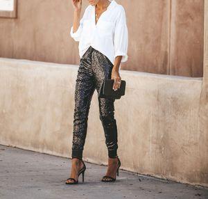 2019 Mulheres cintura alta Skinny Pant Sequins Glitter Leggings joggings Calças Clubwear Y200418
