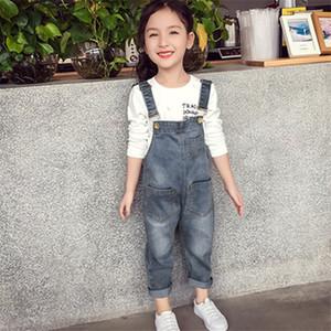 Bebés Meninas Macacões outono Denim Macacão estilo coreano longas Jeans Casual Lavados Botão macacãozinho bolso Calças Suspender Casual Jeans 160cm