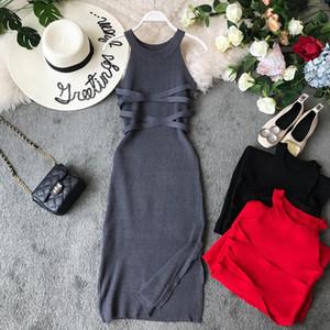 Gagarich Moda 2019 Stretch aderente abiti da donna in maglia maglia sexy del O-collo solido vestito dalla fasciatura donne Robe Femme Vestiti