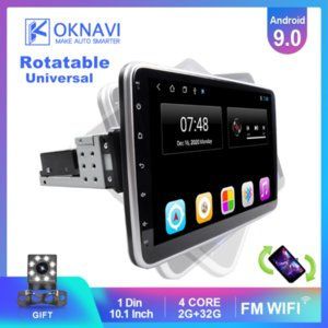 OKNAVI Android 9.0 tela IPS de toque rotativo Radio 1 Din Para Universal Car Stereo Audio Video DVD Multimedia Player dvd carro