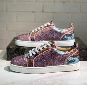 Atacado mais barato Glitter Couro Moda parte inferior vermelha Shoes Spikes Sneakers para as Mulheres, Homens Casual Walking EU35-47 Designer Luxo Walking