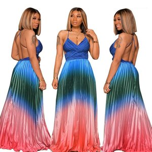 Strap Womens Dresses Estate Backless senza maniche spostato la cassa progettista delle donne Contrasto maxi vestiti Colore drappeggiato Spaghetti