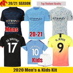 19 20 21 Manchester City Maglie da calcio JESUS 2020 2021 DE BRUYNE KUN AGUERO SANE maglia da calcio STERLING Maglia da uomo kit per bambini