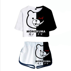 Summer Women's Sets Anime Danganronpa Monokuma Crop Top + Shorts Sweat Suits Women Tracksuits Two Piece Outfit Cosplay Costume