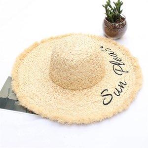 Las mujeres de impresión de letras sombreros de paja de moda de la señora letra bordada Lafite Sombrero de sol de verano transpirable de ala ancha sombreros de Sun Beach