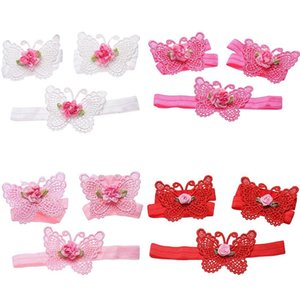 3PcsLovely Baby Girls Infant Crochet Butterfly Headband Knitted Flower Barefoot Sandals Set Beauty Comfortable Stretchy Accessories