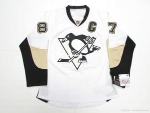 custom SIDNEY CROSBY PITTSBURGH PENGUINS AWAY HOCKEY JERSEY stitch any number any name Mens Hockey Jersey XS-5XL