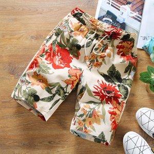 Pop2019 motif coréen va coder homme populaire impression fleur shorts temps cool Sandy Beach Pantalon Homme