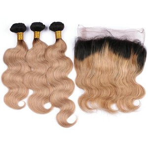 L Honey Blonde Ombre 22 .5x4x2 Full Frontal 360 Band Lace Closure With Body Wave 1b 27 Strawberry Blonde Ombre Virgin Human Hair 3bundl
