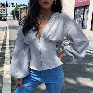 kliou Autumn fashion V tie hooded lantern sleeves long sleeves 2019 features casual sports shirt solid color simple fashion Y200706