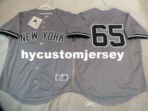 barato costume MAJESTIC New York Phil Hughes # 65 SEWN Baseball Jersey GRAY New Mens costurado jerseys Big e tamanho Alto XS-6XL Venda