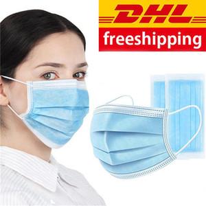 Tek kullanımlık toz geçirmez maskeleri 3-katmanlı filtre, toz geçirmez dokunmamış yüz maskeleri PM2. 5 kulak-döngü maskesi, DHL ücretsiz kargo