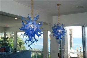 مصابيح سقف غرفة النوم الصغيرة الساخنة بيع اليد الزرقاء النقية فجر الزجاج Chihuly الثريا الكريستالية