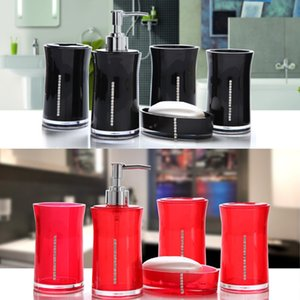 5pcs set Lotion Bottle Mouthwash Cup Odorless Soap Box Toilet Toothbrush Holder Household Simple Gift Bathroom Accessory Acrylic