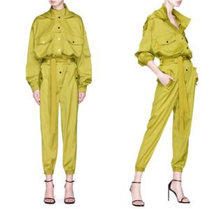 Mulheres Fashion Designer com capuz Carga Macacões Cor Fluorescente cintura alta Casual Feminino macacãozinho Hot Vender Ternos Vestuário