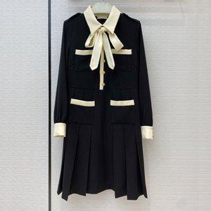 Fashiona women's high-end autumn vintage elegant contrast color bow tie waist waist pleated long-sleeved A-line swing dress