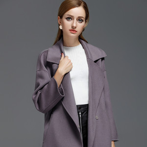 Wool Coat Women Korean Solid Ladies Coats and Jackets Double Sided Long Jacket Elegant Abrigos Mujer Invierno 2020 18082 YY520
