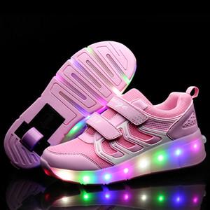 Enfants de l'or rose rougeoyant Sneakers Enfants Roller Skate Chaussures Enfants Led Led Light Up Chaussures Filles Garçons Sneakers Avec Roues Heelies Y190525