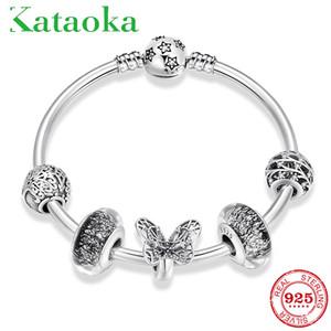 925 Ayar Gümüş kelebek Charms Bileklik hayat ağacı Murano Cam CZ Kristal Boncuk Bilezik Kadınlar Charm Parti Takı