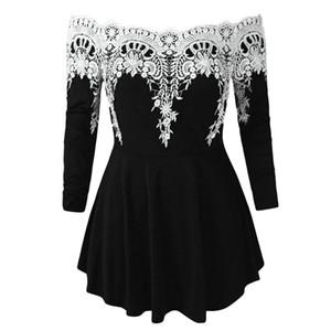 2019 vestidos verano Kadınlar Rahat Dantel Artı Boyutu Soğuk Omuz Moda Aplike T-shirt yumuşak Baskı Zayıflama vintage shein Tops