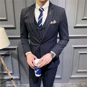 Black Grey Stripe Busines Formal Costume Mariage Homme Gray Tuxedo 2020 Winter Mens Striped Fall Wedding Groom Suit