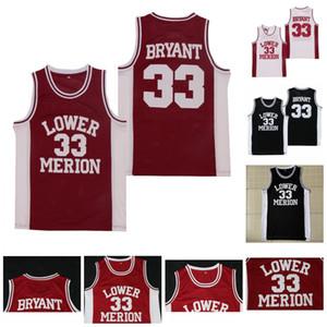 Hombres 33 Bryant Baja Merion High School Basketball Jerseys Blanco Negro Color Rojo En stock Envío rápido