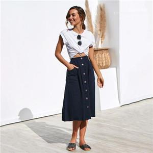 Mode Femme Robes desserrées Solide Couleur Mi-mollet Vêtements décontractés Femmes d'été Designer Procket Bouton Jupes