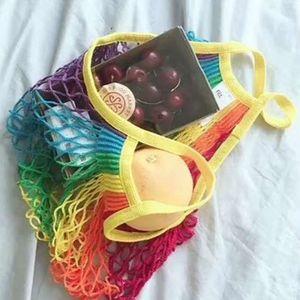 Rainbow Large Mesh Net Shopping Bag Reusable String Fruit Storage Handbag Totes Women Shopping Mesh Net Woven Bag Durable