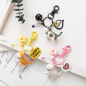 2020 Fashion Creative Cartoon Cat Keychain Cute Animal Kitten Bell Cat Key Chains Women Car Bag Pendant Gift Key chain Wholesale