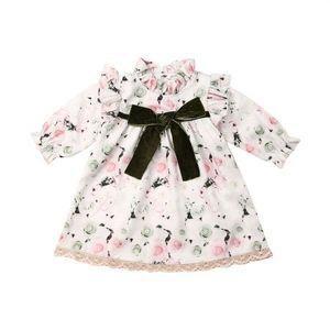 6M-4Years Toddler Newborn Baby Kid Girl Flower Dress Lace Bow Princess Tutu Party Wedding Birthday Dresses Long Sleeve Costumes
