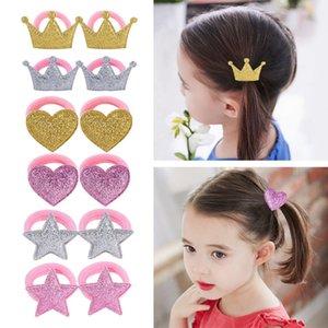 Девочка Hairband Блеск Луки волос Резинка сверкающей Малыш принцесса головной убор Мода Аксессуары для волос сердце Imperial Crown YW3620