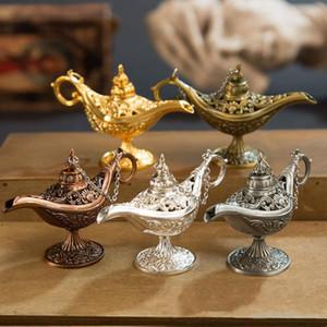 Klassische Rare Hohl Legende Aladdin magische Genie Lampen Räuchergefäße Retro Wishing Öllampe Home Decor Geschenk c759